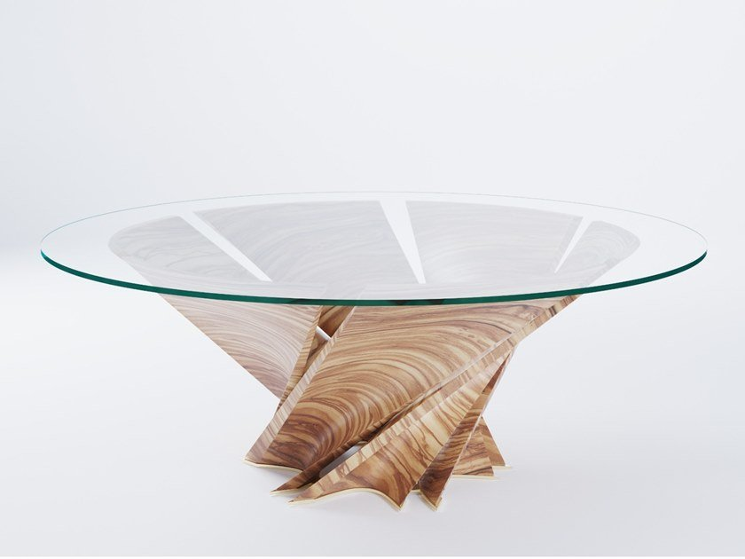 Round wood and glass table TORSION by Natuzzi