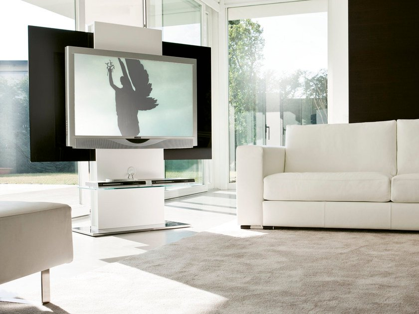 Swivel wood fibre TV cabinet TOTEM by Pacini & Cappellini