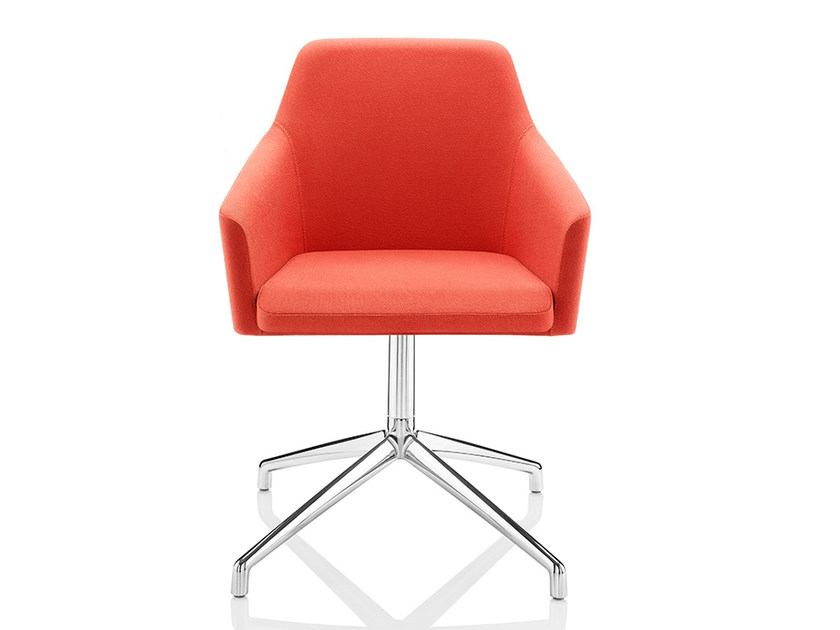 Upholstered chair with 4-spoke base with armrests TOTO | Chair with 4-spoke base by Boss Design