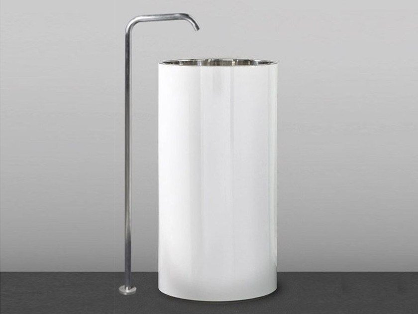 Freestanding Corian® washbasin TOWER 85 by MAKRO