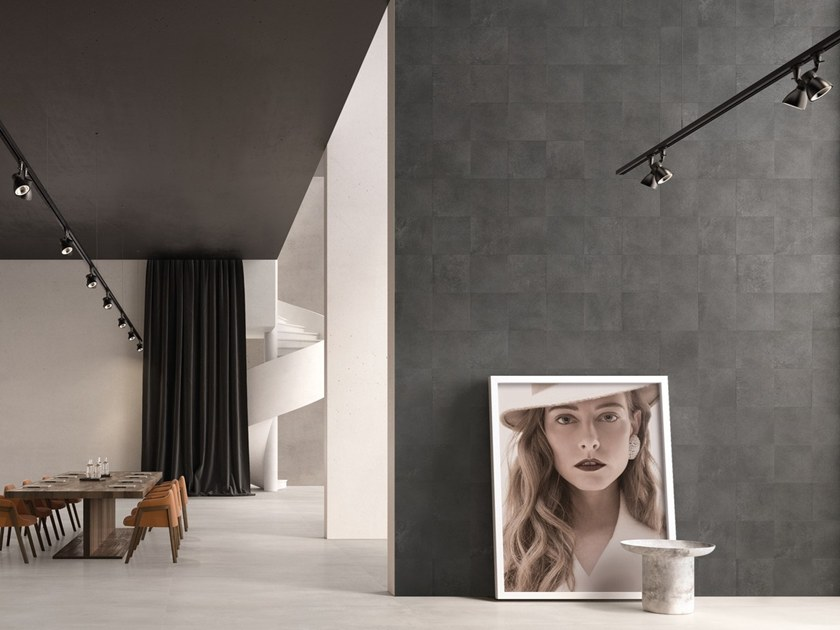 Indoor porcelain stoneware wall tiles TR3ND NEEDLE BLACK by Ergon by Emilgroup