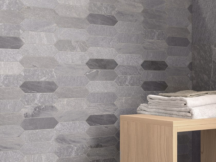 Porcelain Stoneware Wallfloor Tiles With Stone Effect Tracce Dark
