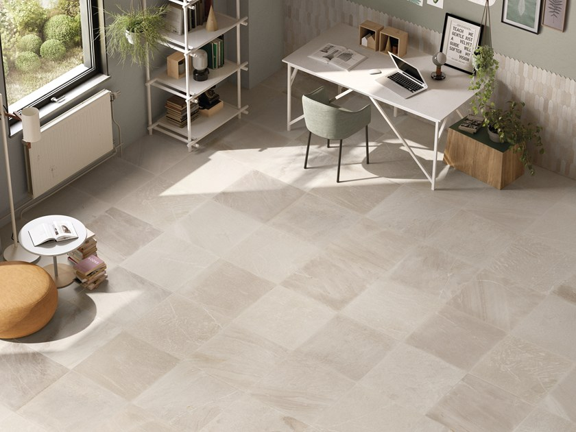 Porcelain stoneware wall/floor tiles with stone effect TRACCE IVORY by EmilCeramica by Emilgroup