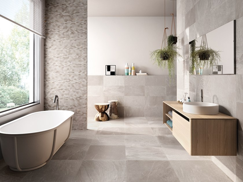 Porcelain stoneware wall/floor tiles with stone effect TRACCE TAUPE by EmilCeramica by Emilgroup