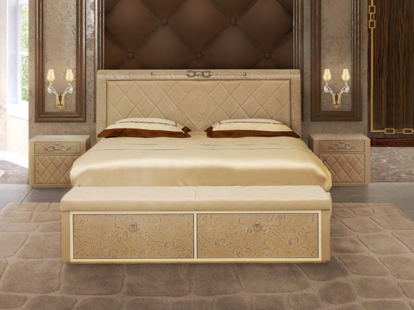 Leather double bed with upholstered headboard TRAFALGAR | Bed by Formitalia