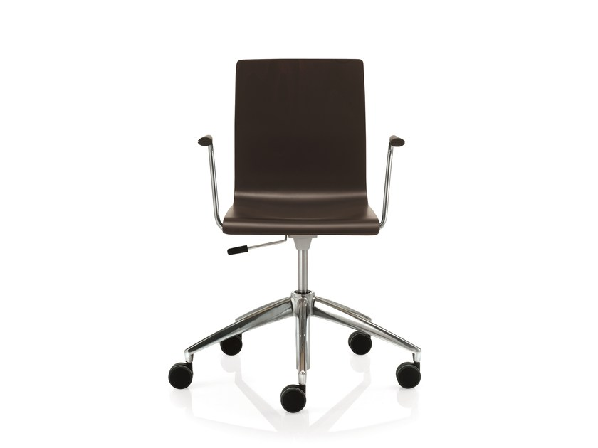 Swivel task chair with 5-Spoke base with armrests SLIM | Task chair with 5-Spoke base by Emmegi