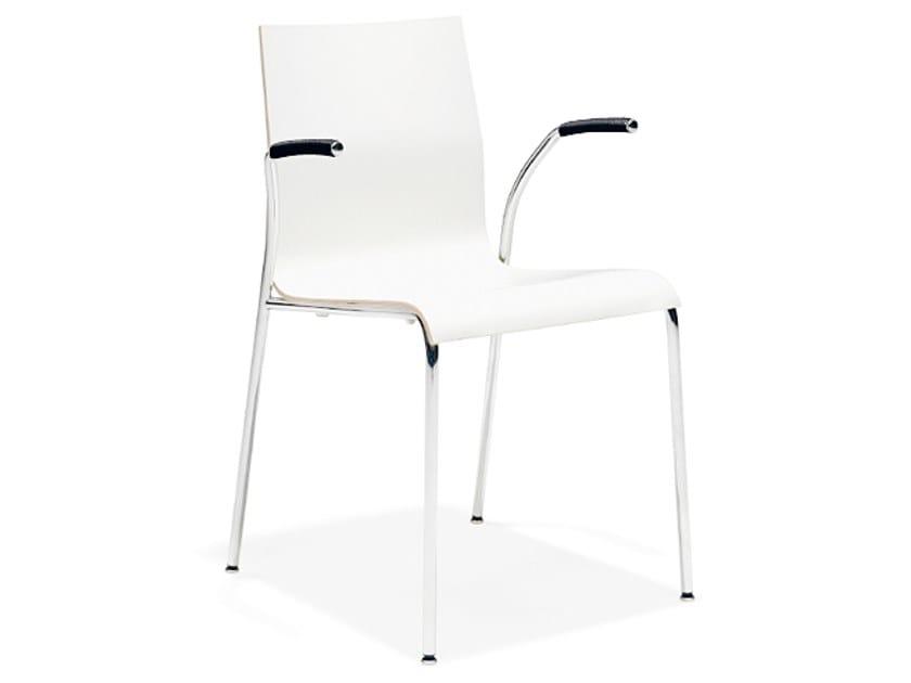 Stapelbarer Konferenzstuhl aus Melamin mit Armlehnen NOA III | Konferenzstuhl mit Armlehnen by Casala