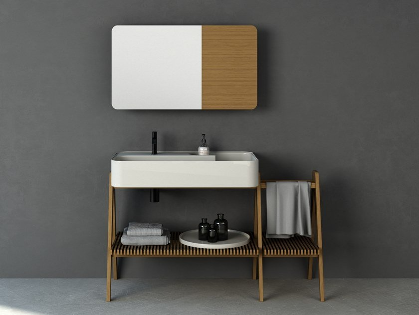 Consolle lavabo in iroko TRAMA 130   Consolle lavabo by Nic