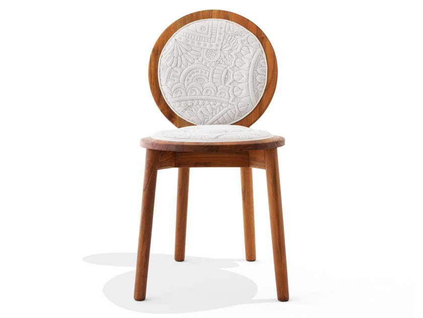 Upholstered cotton and teak chair TRANQUEBAR | Teak chair by Calyah