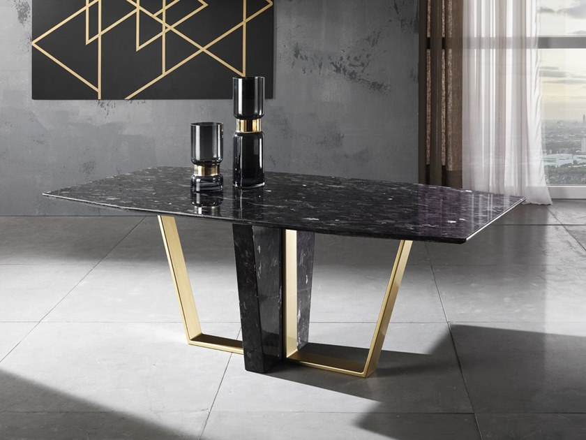 Rectangular natural stone table TRAPEZIUM by Crystal Stone