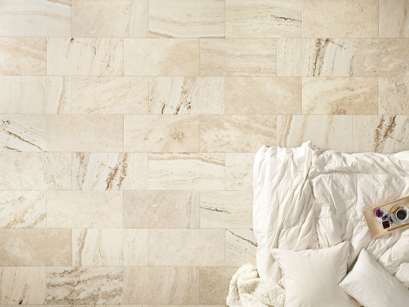 Porcelain stoneware wall/floor tiles with travertine effect TRAVERT CHIARO by ASTOR CERAMICHE