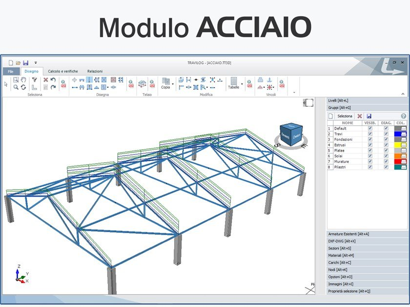 Structural calculation for pre-compressed reinforced concrete TRAVILOG - MODULO ACCIAIO by LOGICAL SOFT