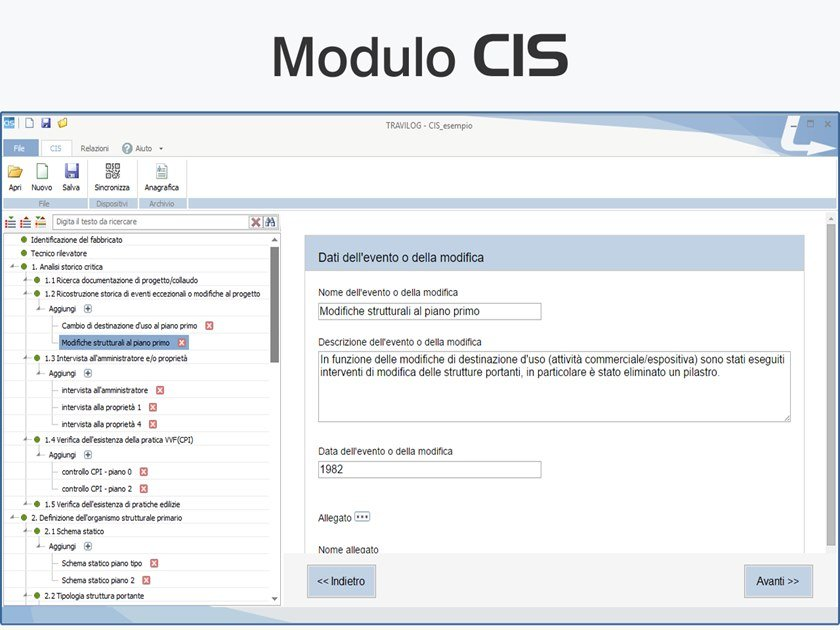 Database, work safety sheet TRAVILOG - MODULO CIS by LOGICAL SOFT
