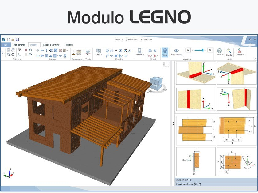 Structural calculation for timber TRAVILOG - MODULO LEGNO by LOGICAL SOFT