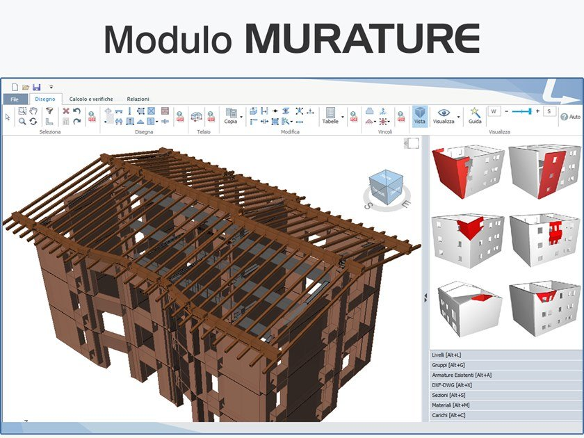 Structural calculation for pre-compressed reinforced concrete TRAVILOG - MODULO MURATURE by LOGICAL SOFT
