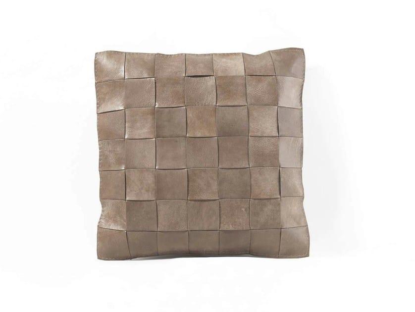 Square leather cushion TRECY by Frigerio Salotti