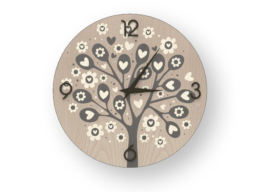Wall clock made of inlayed wood TREE OF HEARTS COLD | Clock by LIGNIS®