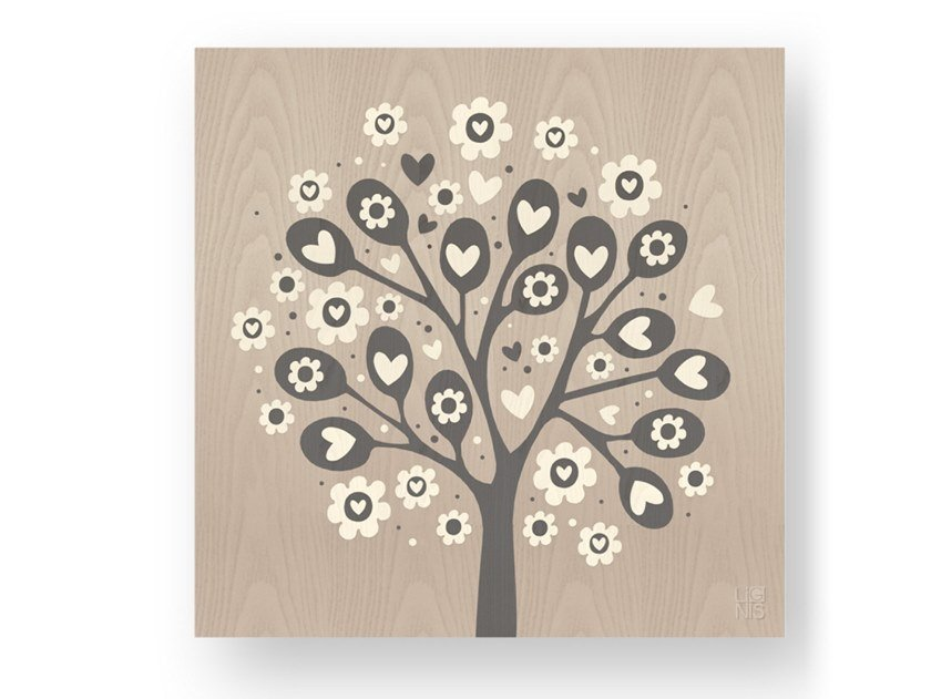 Decorative panel made of inlayed wood TREE OF HEARTS COLD by LIGNIS®
