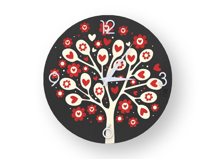 Wall clock made of inlayed wood TREE OF HEARTS COLORS | Clock by LIGNIS®
