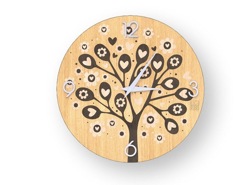 Wall clock made of inlayed wood TREE OF HEARTS WARM | Clock by LIGNIS®