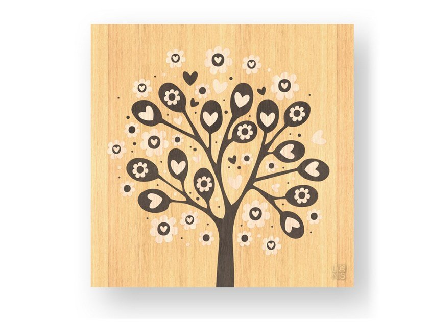 Decorative panel made of inlayed wood TREE OF HEARTS WARM by LIGNIS®