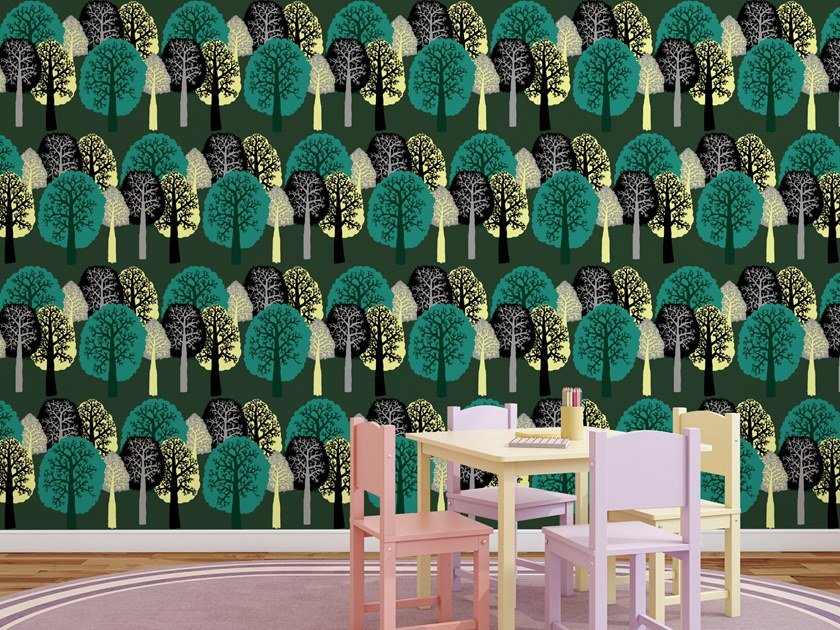 Washable wallpaper with floral pattern TREES by Baboon