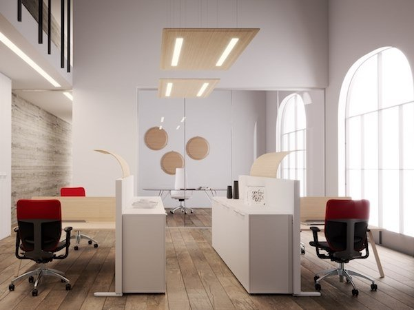 Melamine hanging acoustical panel with Integrated Lighting TRÈS | Hanging acoustical panel with Integrated Lighting by MASCAGNI