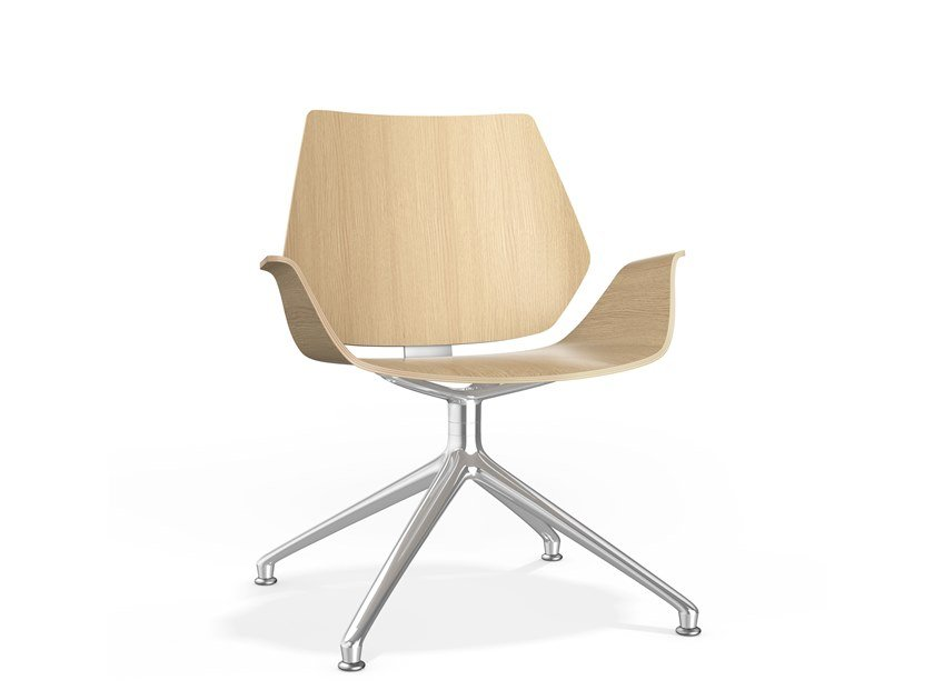 Swivel trestle-based wooden chair with armrests CENTURO IV LOUNGE | Trestle-based chair by Casala