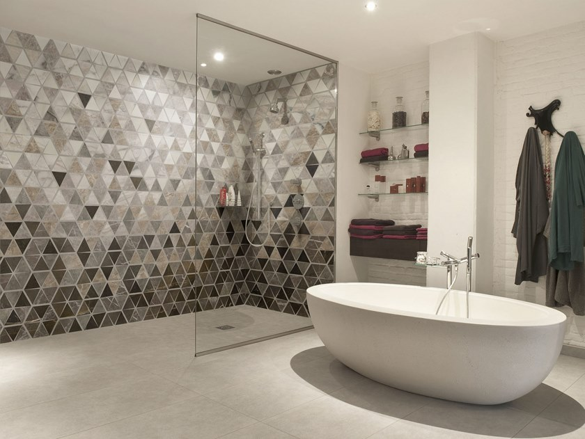 Nonwoven bathroom wallpaper with marble effect TRIABLES by Tecnografica Italian Wallcoverings
