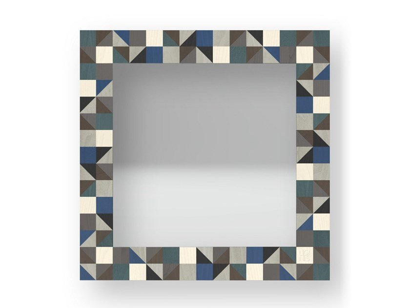 Square wall-mounted framed mirror TRIANGLES COLD | Mirror by LIGNIS®
