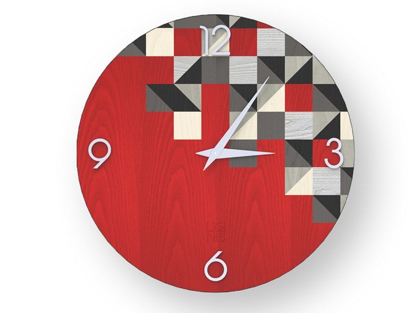 Wall clock made of inlayed wood TRIANGLES COLORS | Clock by LIGNIS®
