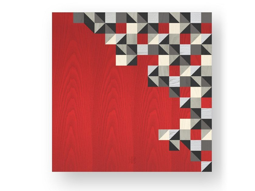 Decorative panel made of inlayed wood TRIANGLES COLORS by LIGNIS®