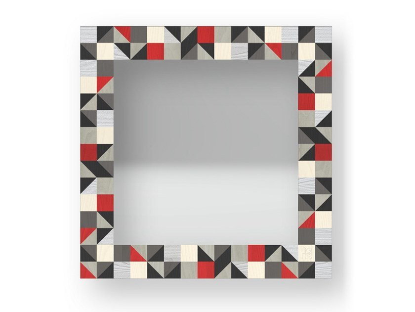 Square wall-mounted framed mirror TRIANGLES COLORS | Mirror by LIGNIS®