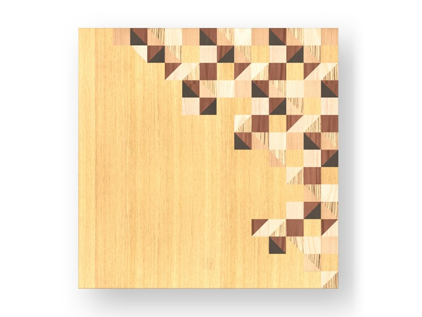 Decorative panel made of inlayed wood TRIANGLES WARM by LIGNIS®