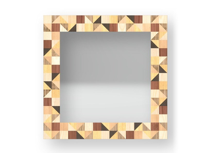Square wall-mounted framed mirror TRIANGLES WARM | Mirror by LIGNIS®