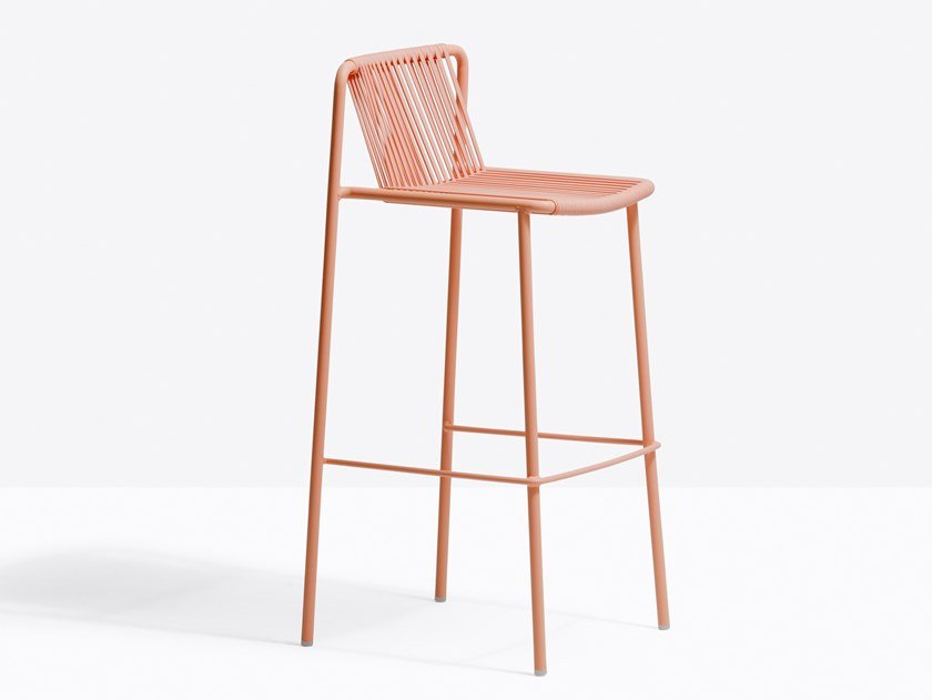 Powder coated steel garden stool TRIBECA 3668 by PEDRALI
