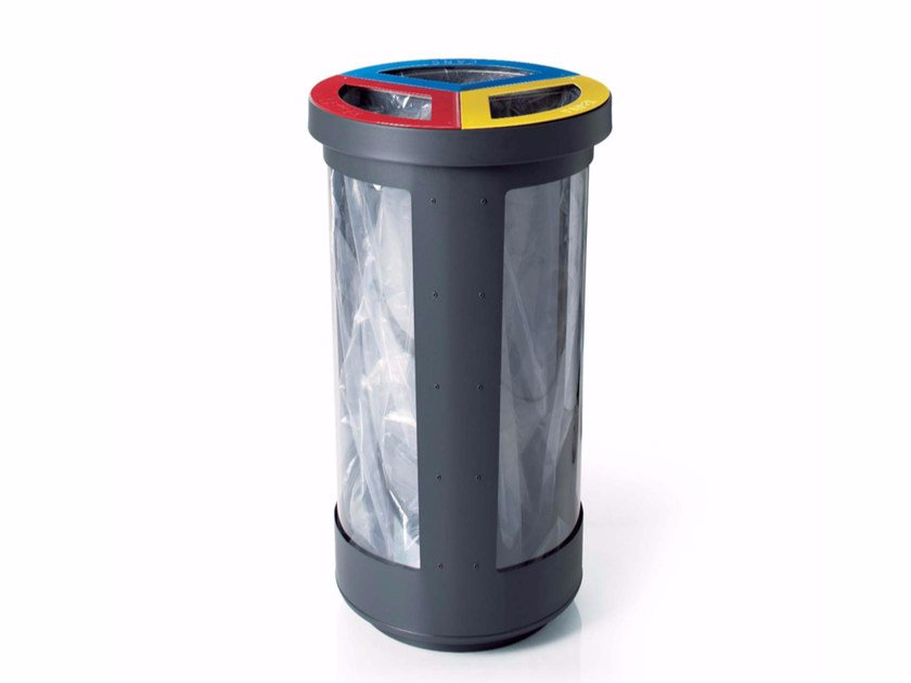 Litter bin for waste sorting TRIBIN SECURITY by LAB23