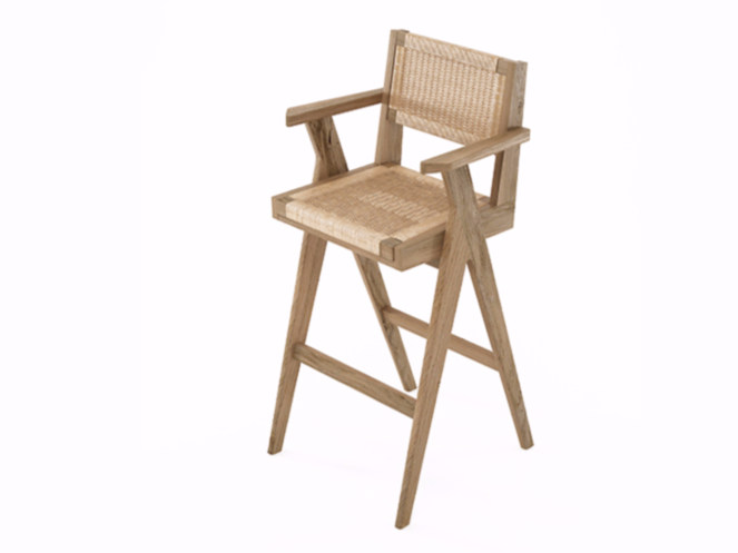 Rope and oak counter stool with armrests TRIBUTE TB10-O by KARPENTER