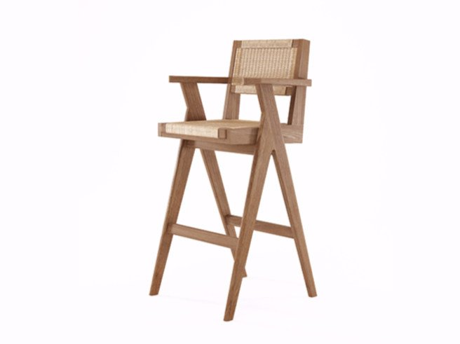 Rope and teak counter stool with armrests TRIBUTE TB10-T by KARPENTER