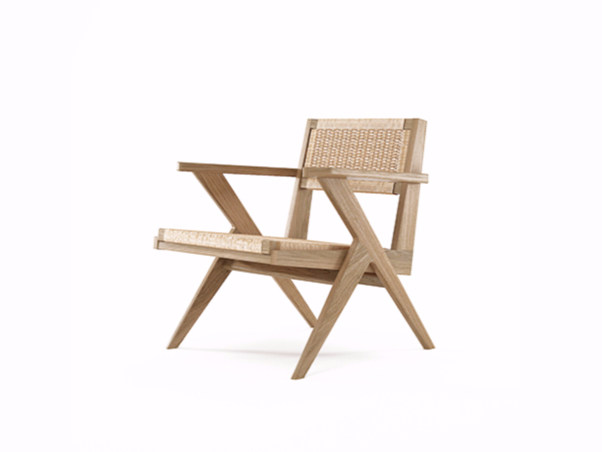 Rope and oak easy chair with armrests TRIBUTE TB12-O by KARPENTER