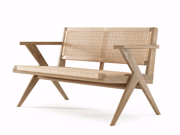 2 seater rope and oak sofa TRIBUTE TB16-O by KARPENTER