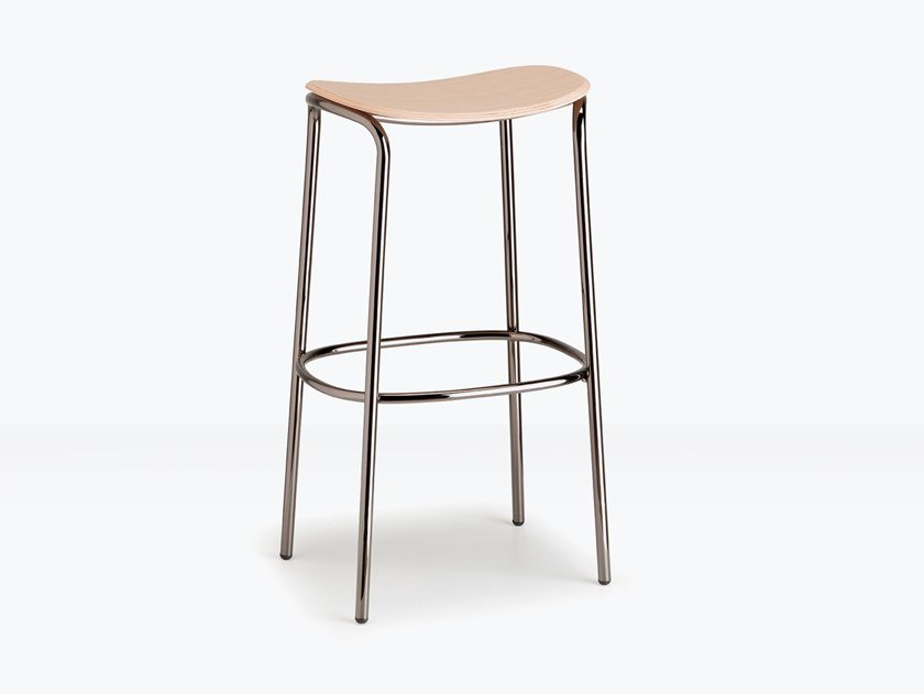 Steel and wood stool TRICK WOOD by SCAB DESIGN