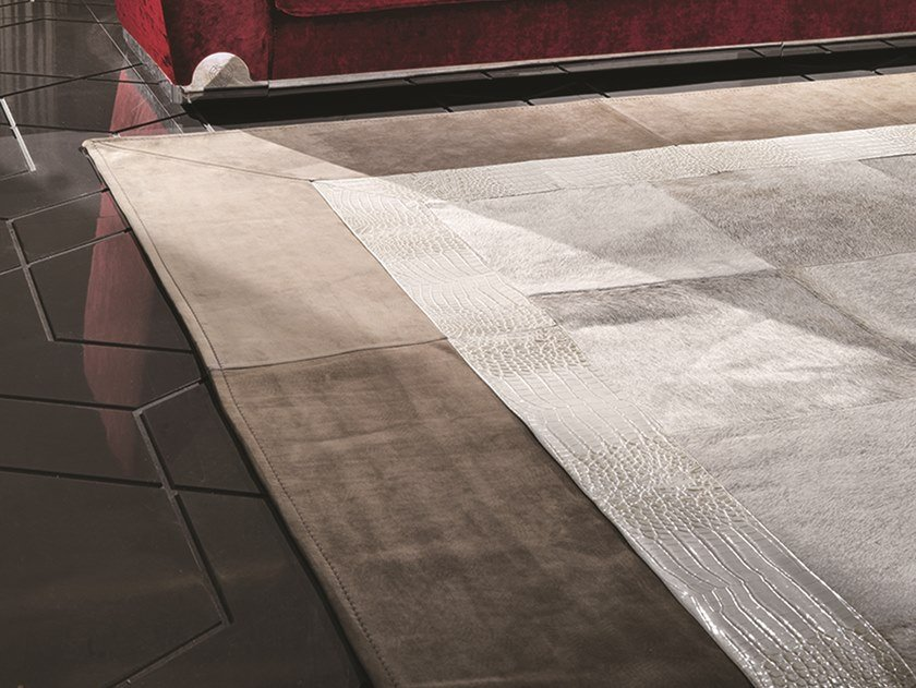 Square leather rug TRILOGY by Longhi