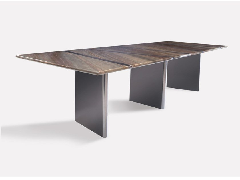 Rectangular marble and metal dining table TRILOGY by MORADA