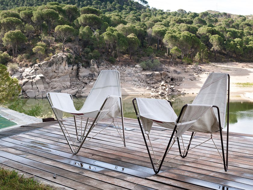 Recovered sail garden armchair TRIMMER by DVELAS
