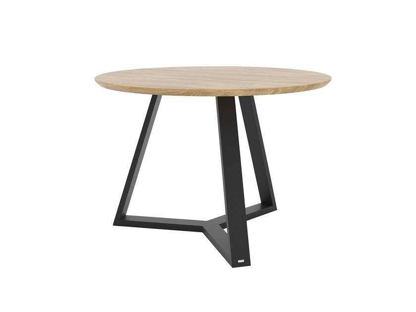 Round steel and wood table TRIO by take me HOME