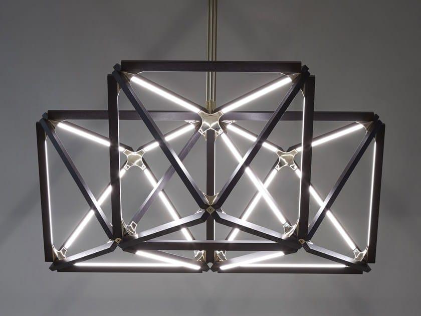 LED wooden pendant lamp TRIPLE X by Stickbulb