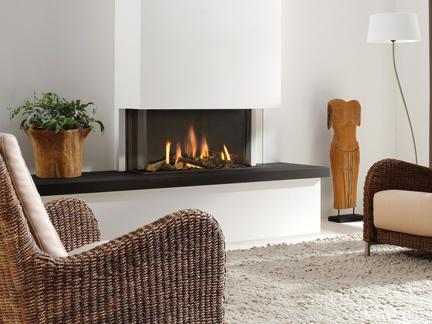 Gas 3-sided steel fireplace with panoramic glass TRISORE by Element4
