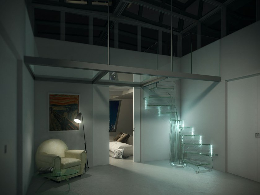 Glass Spiral staircase TROPIC GLASS by Siller Treppen
