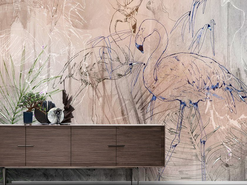 Ecological washable PVC free wallpaper TROPICAL GRAFFITI by Wallpepper